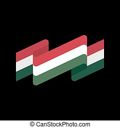 Hungary flag isolated. Hungarian ribbon banner. state symbol