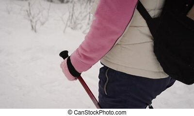 Close up of energetic woman stepping quickly in the forest. Focus of image is on lady's hands hanging black ski poles for nordic walking during following the path in winter nature outdoors.