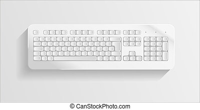 Colorless keyboard on grey background. Vector illustration...
