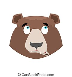 Bear surprised Emoji. grizzly astonished emotion. face Wild...