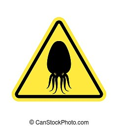 Attention cuttlefish. Octopus on yellow triangle. Road sign Caution devilfish