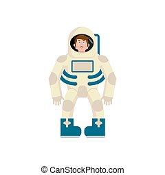 Astronaut sad Emoji. Cosmonaut sorrowful emotion isolated....