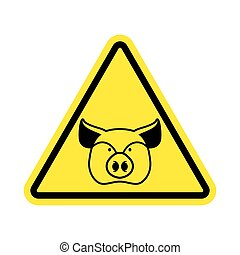 Warning Pig. swine on yellow triangle. Road sign attention...