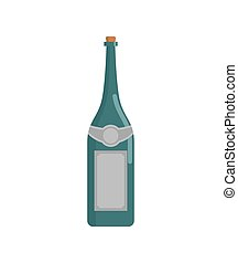 Green wine bottle isolated. Champagne flask on white...