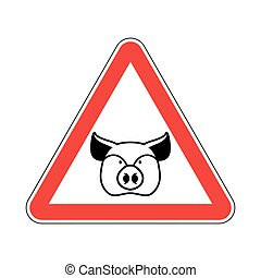 Warning Pig. swine on red triangle. Road sign attention to...