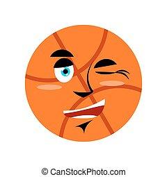 Basketball winking Emoji. Ball happy emotion isolated