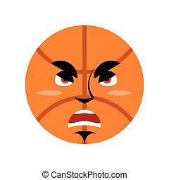 Basketball angry Emoji. Ball grumpy emotion isolated