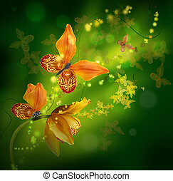 Amazing butterflies from the petals of orchids, floral background.
