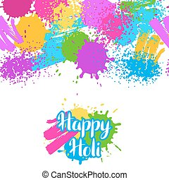 Happy Holi colorful seamless pattern. Grunge background with...