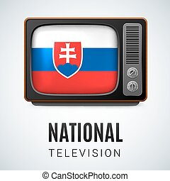 Round glossy icon of Slovakia - Vintage TV and Flag of...