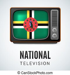 Round glossy icon of Dominica - Vintage TV and Flag of...