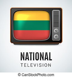 Round glossy icon of Lithuania - Vintage TV and Flag of...