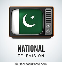 Round glossy icon of Pakistan - Vintage TV and Flag of...