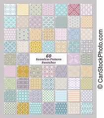 Set of 60 seamless patterns swatches, vector