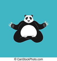 Panda Yoga. Chinese bear yogi. Animal zen and relax
