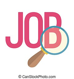 To find job flat style. Vector Illustration