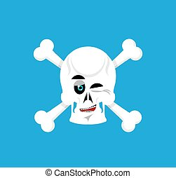 Skull and crossbones  winks Emoji. skeleton head happy emotion isolated