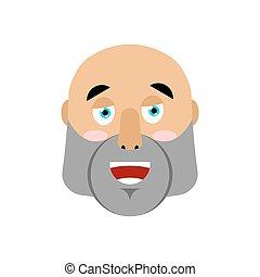 Brutal Man happy Emoji. Men face merry emotion isolated