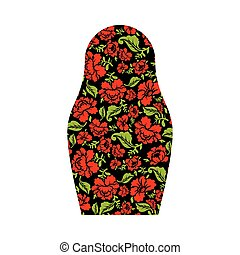 Matryoshka isolated. Russian national doll. Folk traditional painting Khokhloma in Russia