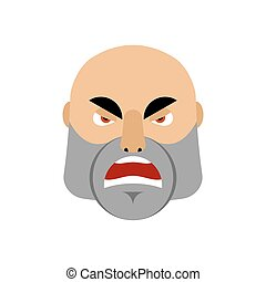 Brutal Man angry Emoji. Men face Aggressive emotion isolated