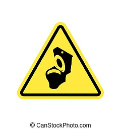 Warning WC. Toilet bowl on yellow triangle. Road sign...