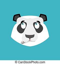 Panda surprised Emoji. Chinese bear astonished emotion...