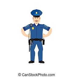 Police officer angry Emoji isolated. Policeman aggressive emotion