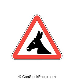 Attention donkey driving. jackass on red triangle. Road sign...