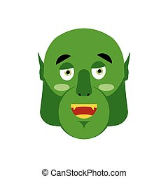 Ogre happy Emoji. Goblin merry emotion isolated. Green monster face