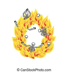 Letter O hellish flames and sinners font. Fiery lettering....