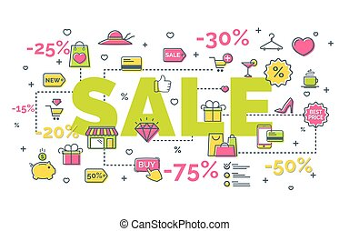 Sale concept with modern thin line icons on white...