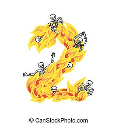 Number 2 hellish flames and sinners font. Fiery lettering...