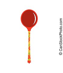Russian wooden spoon folk cutlery. Russia Khokhloma pattern accessory for food