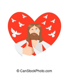 Love of Jesus. Christ and heart. Thumb up. Biblical faith