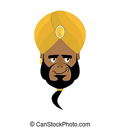 Indian face in turban happy Emoji. Head man of India merry...