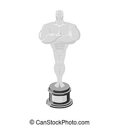 Silver statue Award for third place. Statue premium isolated