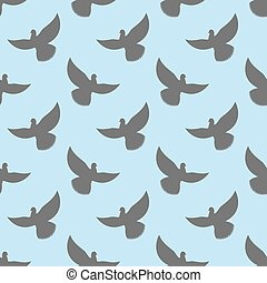 Black dove seamless pattern. Pigeons flying background. Birds in sky ornament
