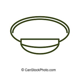 Military cap line style. Army officer hat icon
