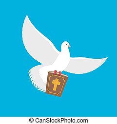 White dove and Bible. pigeon and holy book. Religion illustration