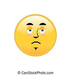 Sad Emoji isolated. dull yellow circle emotion isolated