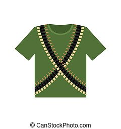 Soldier T-shirt and machine-gun belts. Military clothing. Army ammunition for weapons