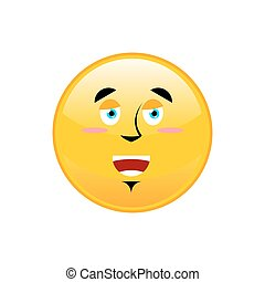 Funny Emoji isolated. Cheerful yellow circle emotion...