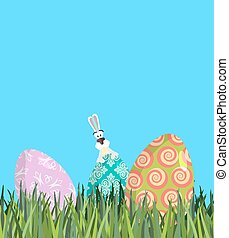 Easter Painted egg and Bunny. Religious holiday