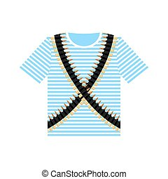 Sailor shirt and machine-gun belts. Military clothing. Army ammunition for weapons