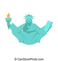 America Yoga. Statue of Liberty in lotus posture. Relaxation...