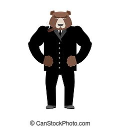 Bear boss. Grizzly businessman in business suit. Wild animal