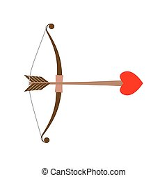 Bow Cupid. Arrow of Love with heart. Illustration for...