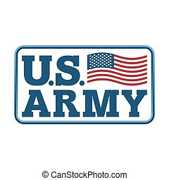 US Army emblem. Flag of America. Armed forces of United...