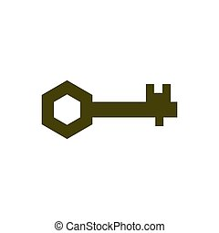 Old key isolated. Ancient door clef on white background. antique object