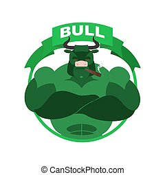 Green Bull Up Arrow. Exchange Trader illustration. Business...